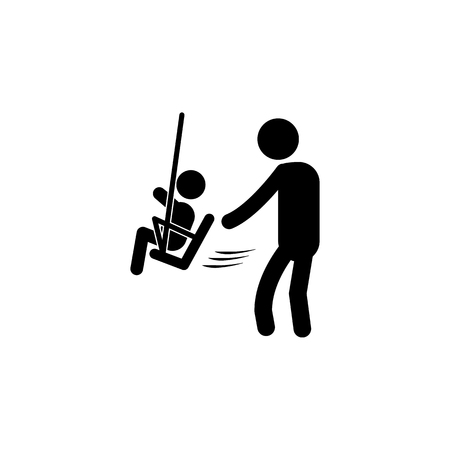 Father Dad Daddy Son Family Parent Parenthood Fatherhood Icon. child with father on a swing icon. Simple black family icon. Can be used as web element, family design icon on white background Vettoriali