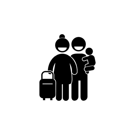 family travel icon vector illustration icon. Simple black family icon. Can be used as web element, family design icon on white background