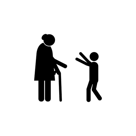 grandson hugs grandmother icon. Element of a happy family icon. Premium quality graphic design icon. Signs and symbols collection icon for websites, web design, mobile app on white background Illustration