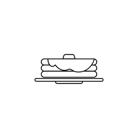 Pancakes line icon on white background