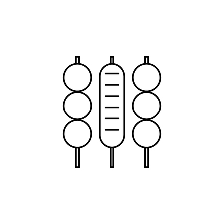 Meat skewer line icon on white background