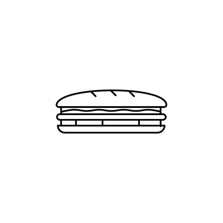 Sandwich line icon on white background Vectores