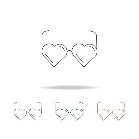 Heart shaped eye glasses. Element of a party multi colored icon for mobile concept and web apps.