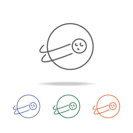 Earth and Moon icon. Element of a space multi colored icon for mobile concept and web apps. Thin line icon for website design and development, app development. Premium icon on white background