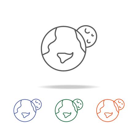 Erde und Mond-Symbol. Element einer mehrfarbigen Ikone des Raumes für bewegliches Konzept und Netz apps. Dünne Linie Symbol für Website-Design und Entwicklung, App-Entwicklung. Premium-Symbol auf weißem Hintergrund.