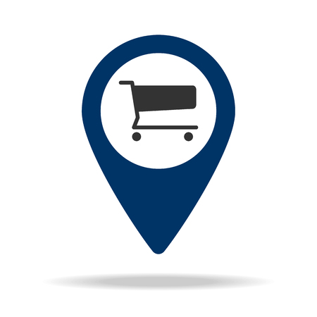 place shopping center in blue map pin icon. Element of map point for mobile concept and web apps. Icon for website design and development, app development. Premium icon on white background