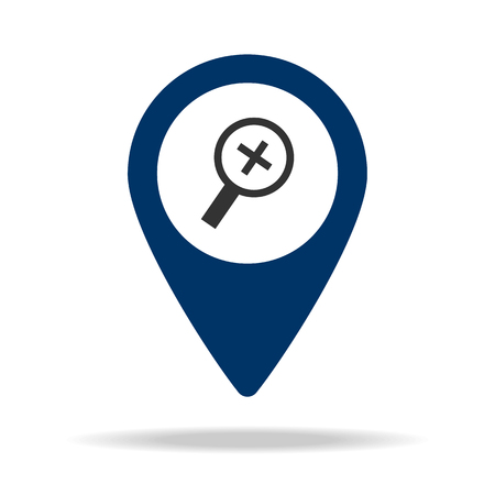approximation sign in blue map pin icon. Element of map point for mobile concept and web apps. Icon for website design and development, app development. Premium icon on white background Ilustração