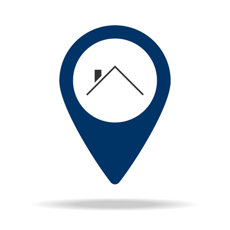 a place of country small houses in blue map pin icon. Element of map point for mobile concept and web apps. Icon for website design and development, app development. Premium icon on white background Illustration