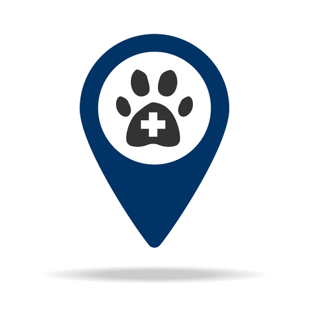 Place of veterinary medicine in blue map pin icon. Element of map point for mobile concept and web apps. Icon for website design and development, app development. Premium icon on white background