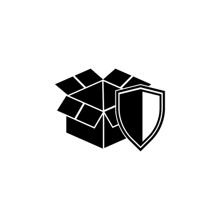 open box with shield icon. Element of logistic for mobile concept and web apps. Icon for website design and development, app development. Premium icon on white background