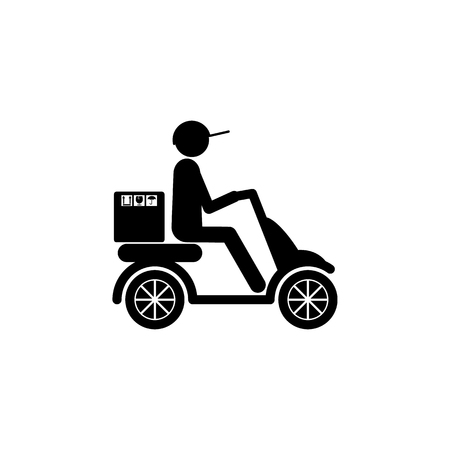 postman on the scooter icon. Element of logistic for mobile concept and web apps. Icon for website design and development, app development. Premium icon on white background