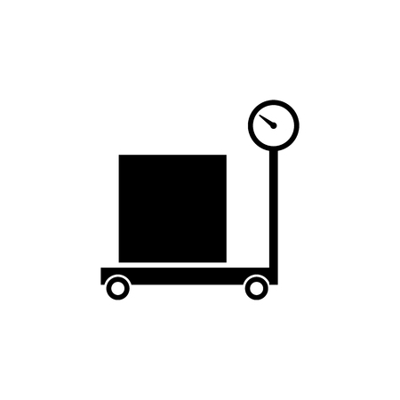 packaging box in a weighing scale icon logistic concept