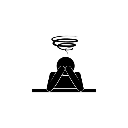 Man with hands on head with confused thoughts, confusion in the head icon.  Premium quality graphic design. Signs and symbols icon for websites, web design, mobile app on white background Ilustrace