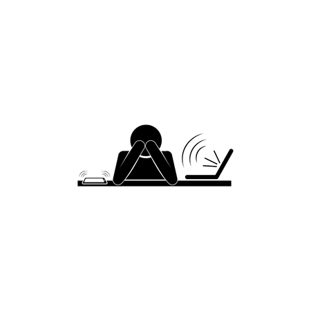 Man at work with hands on head, working fatigue icon.   Premium quality graphic design. Signs and symbols icon for websites, web design, mobile app on white background