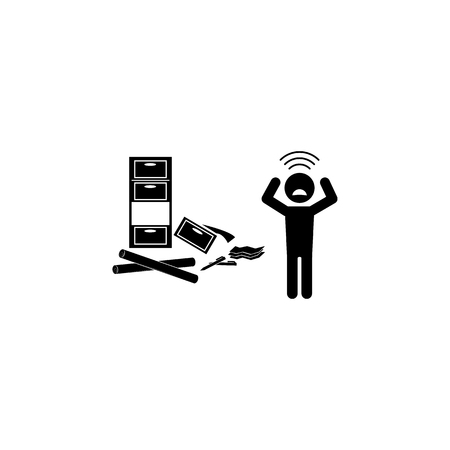 depression at work icon.  Premium quality graphic design. Signs and symbols icon for websites, web design, mobile app on white background