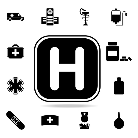 Helicopter landing pad icon. Set of medicine and hospital icons. Premium quality graphic design. Sign sand symbols collection, simple icons for websites, web design on white background. Illustration