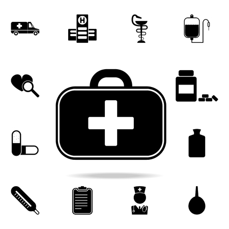 First aid kit icon. Set of medicine and hospital icons. Premium quality graphic design. Sign sand symbols collection, simple icons for websites, web design on white background. Иллюстрация