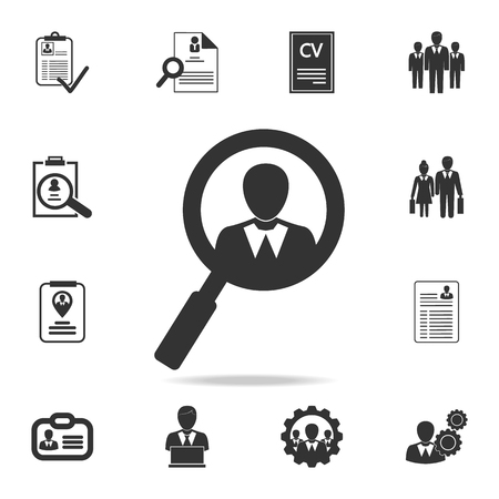 Job Search Logo Design icon. Set of Human resources, head hunting icons. Stock Illustratie
