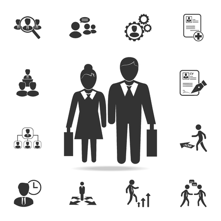 Pictogram of a businessman and a businesswoman icon. Set of Human resources, head hunting icons. Premium quality graphic design.