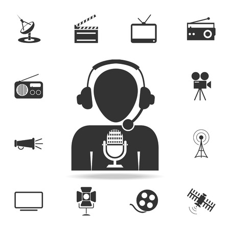 Man with microphone Vector icon. Detailed set icons of Media element icon. Premium quality graphic design. One of the collection icons for websites, web design, mobile app on white background
