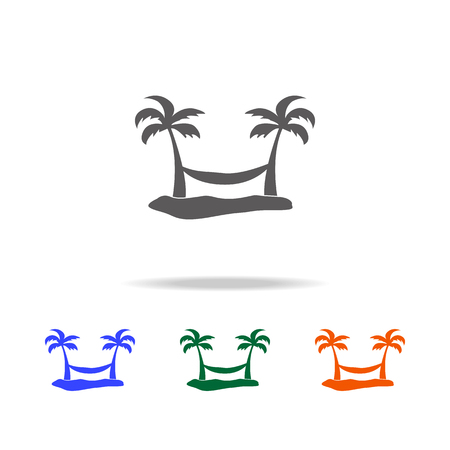 hammock between two palm trees icon. Element of Beach holidays multi colored icons for mobile concept and web apps. Thin line icon for website design and development on white background