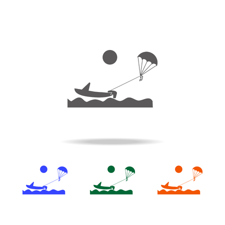 Parakiting icon. Element of Beach holidays multi colored icons for mobile concept and web apps. Thin line icon for website design and development, app development on white background Illustration