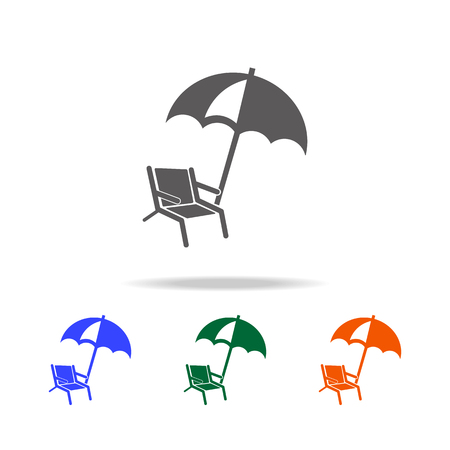 Chair and beach umbrella icon. Element of Beach holidays multi colored icons for mobile concept and web apps. Thin line icon for website design and development, app development on white background