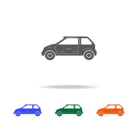 Small hatchback car icon. Types of cars elements in multi colored icons for mobile concept and web apps. Icons for website design and development, app development on white background. Ilustracja
