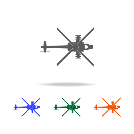 Military helicopter silhouette icon. Elements of military aircraft in multi colored icons for mobile concept and web app. Icons for website design and development, app development on white background. Illustration