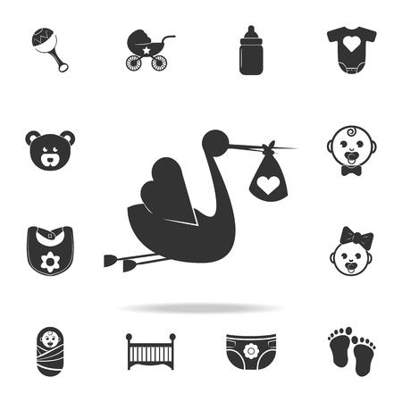 コウノトリは赤ちゃんのアイコンをもたらします。子供と赤ちゃんのおもちゃのアイコンのセット。ウェブアイコンプレミアム品質のグラフィック