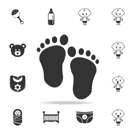 traces of baby feet icon. Set of child and baby toys icons. Web Icons Premium quality graphic design. Signs and symbols collection, simple icons for websites, web design on white background