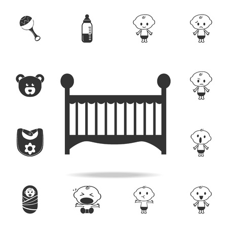 baby bed icon. Set of child and baby toys icons. Web Icons Premium quality graphic design. Signs and symbols collection, simple icons for websites, web design on white background Illusztráció
