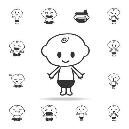 Happy baby boy icon. Set of child and baby toys icons. Web Icons Premium quality graphic design. Signs and symbols collection, simple icons for websites, web design on white background