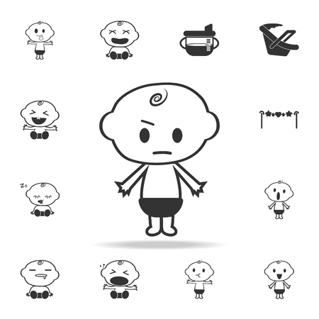 Little boy angry icon. Set of child and baby toys icons. Web Icons Premium quality graphic design. Signs and symbols collection, simple icons for websites, web design on white background