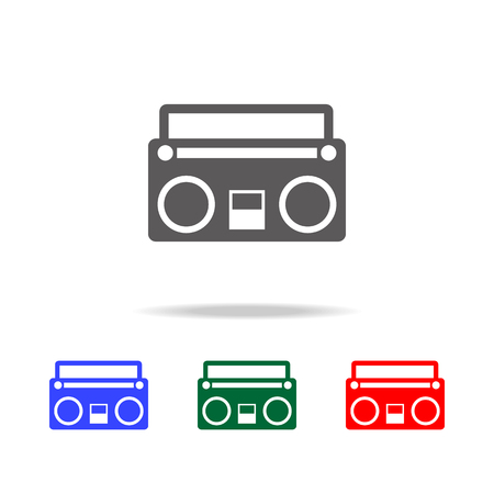 Retro tape recorder icon. Elements in multi colored icons for mobile concept and web apps. Icons for website design and development, app development on white background Illusztráció