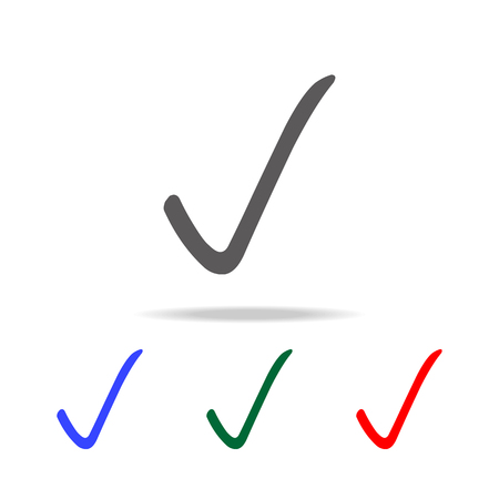 check mark sign icon. Elements in multi colored icons for mobile concept and web apps. Icons for website design and development, app development on white background