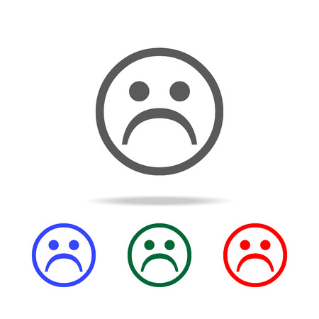 Sad face icon. Elements in multi colored icons for mobile concept and web apps. Icons for website design and development, app development on white background.