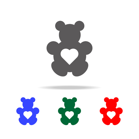 Teddy bear with heart icon. Elements in multi colored icons for mobile concept and web apps. Icons for website design and development, app development on white background