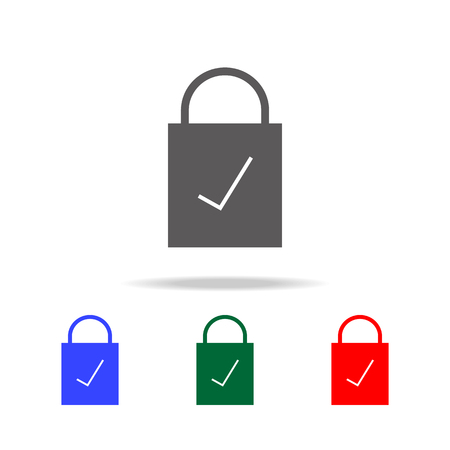 Lock checked icon. Elements in multi colored icons for mobile concept and web apps. Icons for website design and development, app development on white background