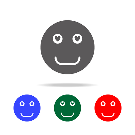 Smiley face in love icon. Elements in multi colored icons for mobile concept and web apps. Icons for website design and development, app development on white background. Ilustração