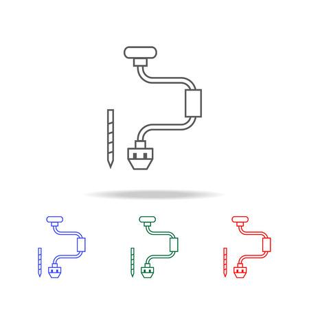 Hand Drill line Icon vector illustration set