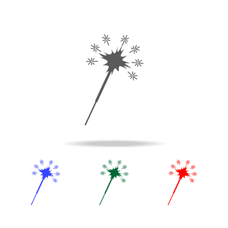 Laser beam, sparkler line icon set Illustration