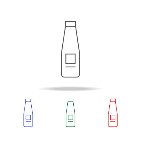 Milk bottle line icon set