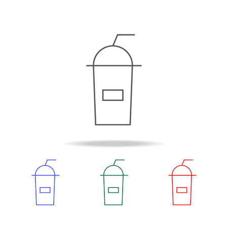 Silhouettes of plastic cup line icon set