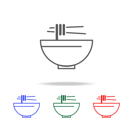 Noodle soup line icon set Illustration