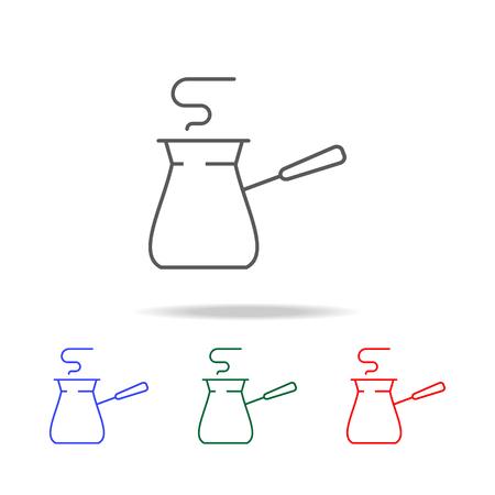 Turkish coffee pot line icon set