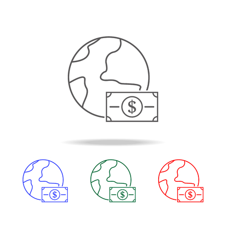 Money in the circle of the earth icon set