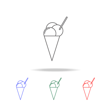 ice-cream on the horn icon. Elements in multi colored icons for mobile concept and web apps. Icons for website design and development, app development on white background Illustration