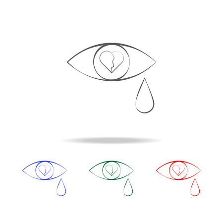 Tears From A Broken Heart Icon Elements In Multi Colored Icons