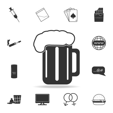 A beer cup glass iconSet of Human weakness and Addiction element icon. Premium quality graphic design. Signs, outline symbols collection icon for websites, web design, mobile app on white background